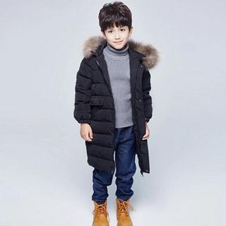 中长款儿童毛领加厚保暖羽绒服