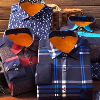 秋冬季男士加绒保暖衬衫