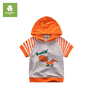 纯棉卡通连帽体恤衫0-4岁