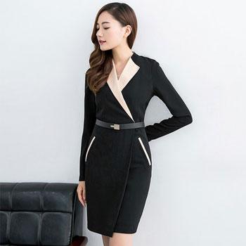 韩版黑色中长款收腰连衣裙