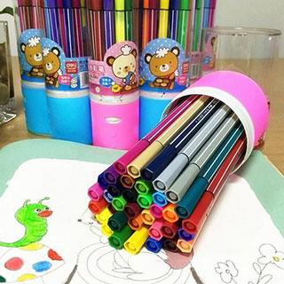 得力水彩笔12色儿童彩笔画笔