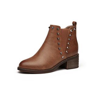 秋冬季铆钉粗跟马丁靴