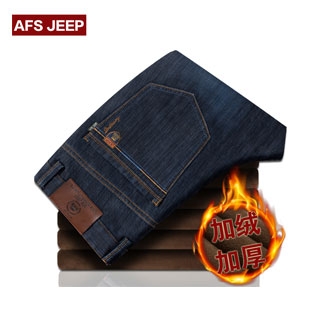 战地吉普加绒牛仔裤