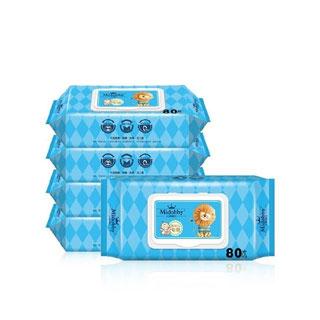 婴儿湿巾纸带盖80抽*5包