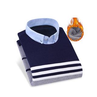 加绒加厚保暖衬衫假两件