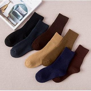 5双一圈毛巾袜复古靴袜