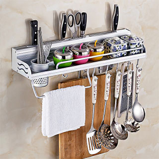 太空铝免打孔厨房置物架