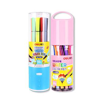 得力无毒可水洗彩色涂鸦水彩笔12色