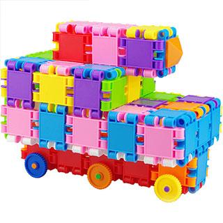 益智拼插方块塑料赛车积木幼儿智力玩具