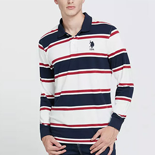 美国马球翻领条纹长袖POLO衫