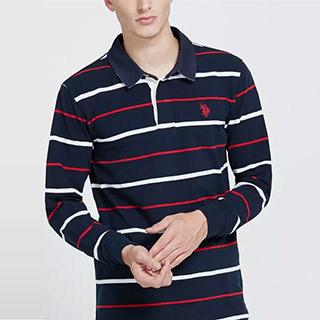 美国翻领条纹长袖POLO衫