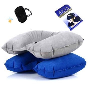 旅行午休三宝 避光眼罩耳塞充气枕