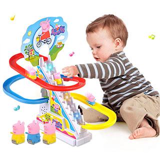 小贝猪灯光电动轨道玩具