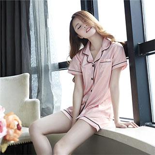 睡衣女夏短袖冰丝韩版真丝两件套