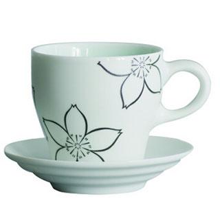 圭宝马克杯樱系列带碟创意简约咖啡杯子