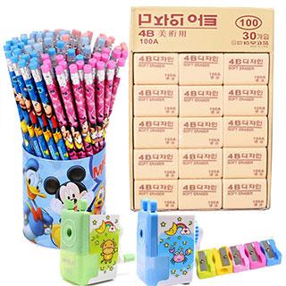 50支铅笔+30块橡皮+手摇削笔器