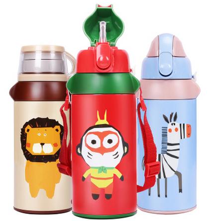 儿童保温杯带吸管卡通水杯可爱宝宝便携水壶两用杯子