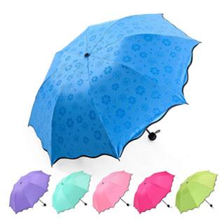 韩国创意黑胶太阳伞遇水开花遮阳伞