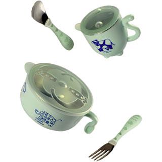 婴儿不锈钢防摔辅食碗吸盘碗勺套装