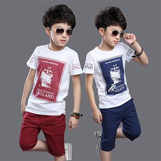 帆船印花童装男童夏装儿童套装