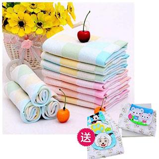 【8种规格纯棉童巾】纯棉纱柔毛巾组合