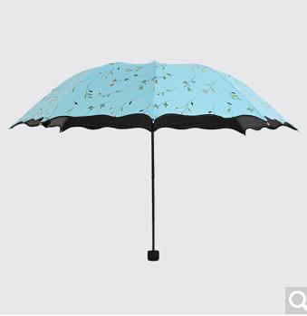 海棠花折叠晴雨伞 雨具小黑胶三折防晒遮阳伞女