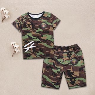 儿童短袖男童迷彩服2件套装