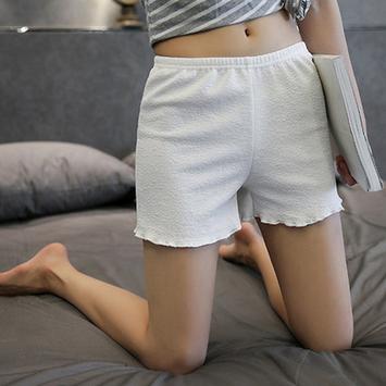 薄款纯色波浪边安全裤女短裤