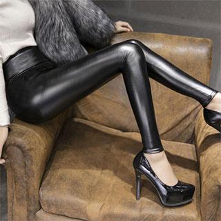 高端美腿加绒加厚PU皮裤