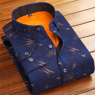 休闲加绒加厚保暖衬衫