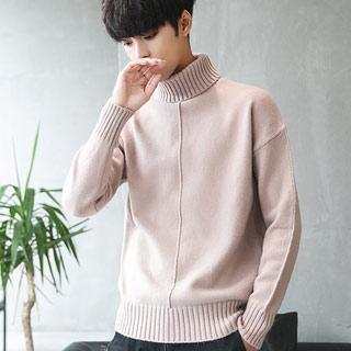 高领毛衣男宽松针织衫