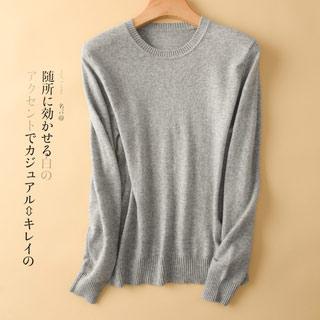 圆领毛衣纯色羊绒针织衫
