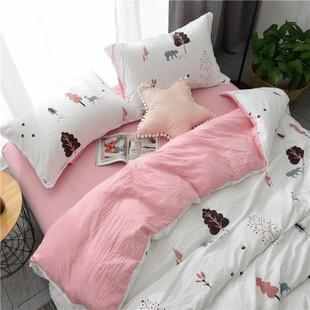 裸睡水洗棉床单被套五件套
