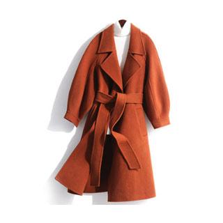100%羊毛灯笼袖双面呢大衣