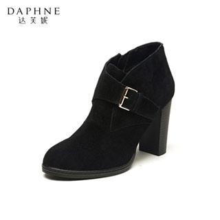 达芙妮粗高跟短靴