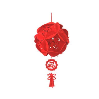 小红灯笼福字挂饰