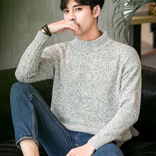 冬季情侣装个性韩版半高领毛衣男士针织衫