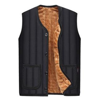 爸爸冬装背心加绒加厚款保暖棉马夹