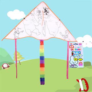 儿童DIY空白涂鸦填色风筝