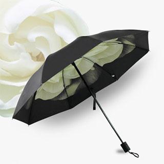 黑胶创意三折晴雨两用伞