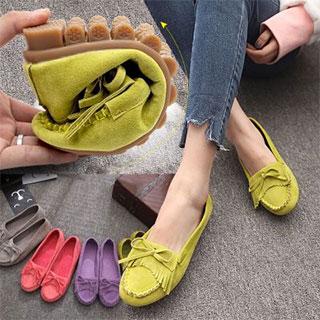 女士浅口牛筋底豆豆鞋
