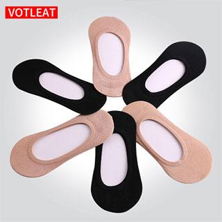 隐形-防滑硅胶纯棉船袜4双