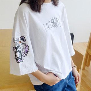 时尚印花学生流苏短袖t恤