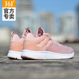 361度粉色透气网面跑步鞋