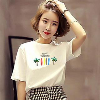 韩版字母白色短袖t恤