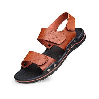 男士夏季牛皮沙滩凉鞋