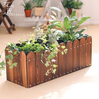 防腐木花箱碳化实木花盆