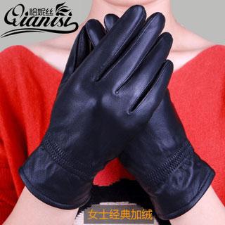 冬季加绒真皮手套