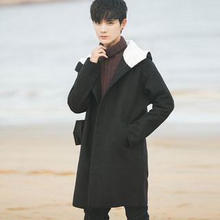 韩版潮流宽松男士毛呢大衣