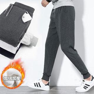 加绒加厚运动裤休闲束脚裤
